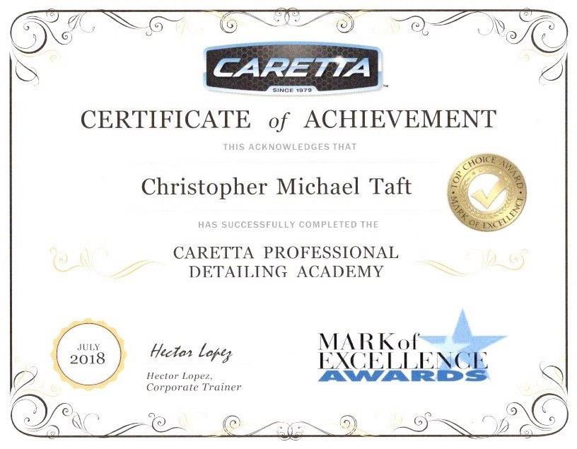 Caretta Certificate of Achievement