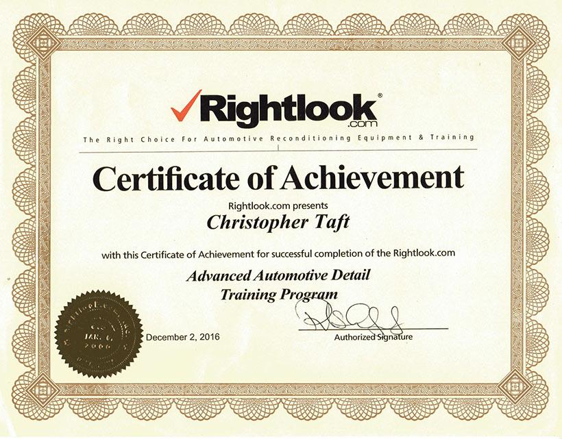 Rightlook Certificate of Achievement